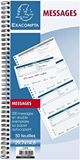 Exacompta 13292E Bloc message à spirale 50 feuilles 29,7 x 14,8 cm