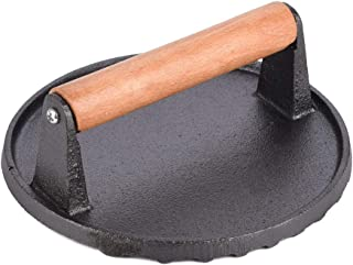 Rissetree Cast Iron Grill/Bacon Press Round Shape 0.9 kg Weight D 18cm x H 7cm