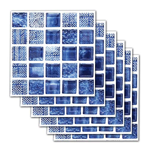 DNVEN 7.8 inches x 7.8 inches 6pc Tile Stickers Blue Mosaic Style Kitchen Backsplash Bathroom Vinyl Waterproof Peel and Stick Decals