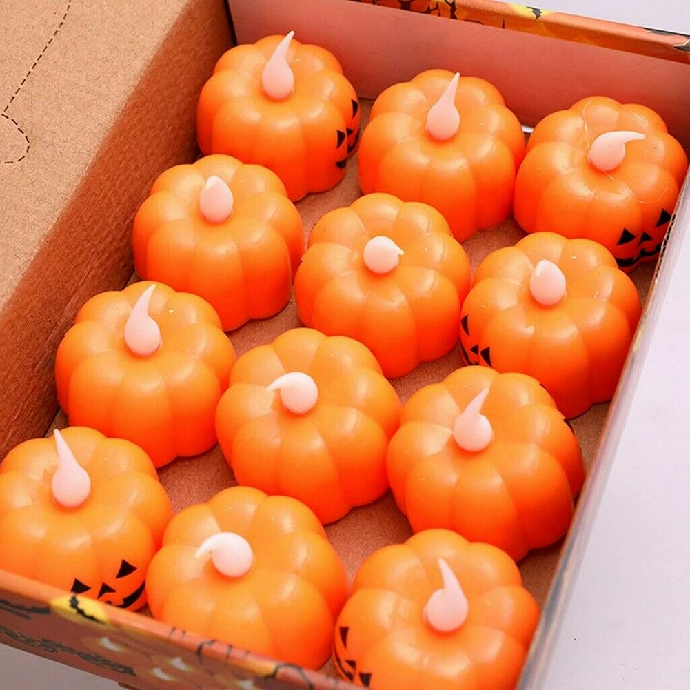 AUSUKY 12pcs Halloween Max 79% OFF LED Light Simulation specialty shop Lamp Pumpkin Candle