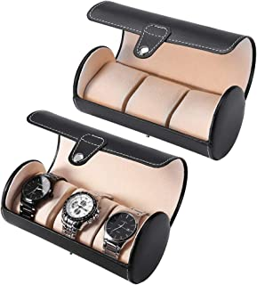 3 Bit Cylinder Watch Box Top Grade Pu Can Put Jewelry