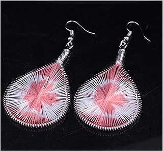 Yfe Geometry National Flag Earring for women and girls Flag Earrings Silk Peacock Feather Earrings