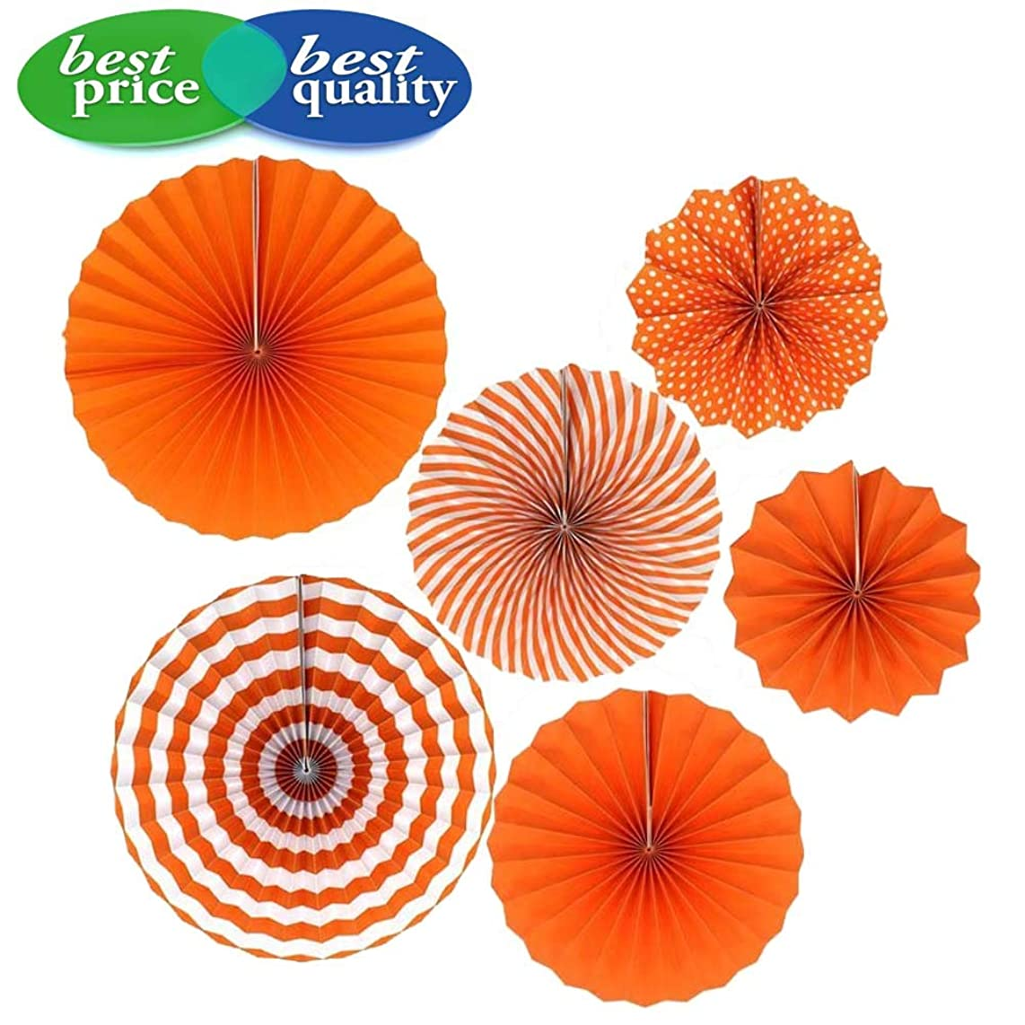 LXS Party Hanging Paper Fans Decoration Set, Round Pattern Paper Garlands Decoration for Wedding Birthday Party Baby Showers Graduation Events Accessories, Set of 6(Orange)