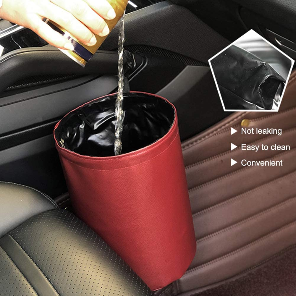 Red ZSooner Car Trash Can Auto Storage Waterproof PU Leather Portable Organizer Universal Rubbish Bin Interior Hanging Small Travel Garbage Collapsible
