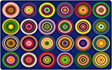 Flagship Carpets Color Rings Colorful Children's Classroom Area Rug for Kids Room Circle Seating Décor, Play Carpet for Teaching and Playing, Seats 24, 7'6'x12', Indigo