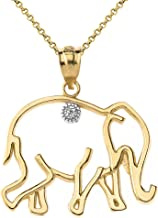 Solid 10k Gold Solitaire Diamond Openwork Lucky Elephant Pendant Necklace