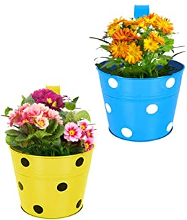 Kraft Seeds Designer Round Shaped Dotted Railing Planters. (Round -Multicolored Variety Available - Green, Yellow, Orange, Blue and Red.) Useful for Balcony and Home Gardening (Pack of 2)