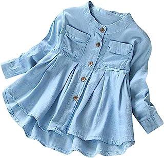 تي شيرت للبنات الصغار من الدينيم طويل الأكمام مكشكش ملابس الأطفال الخريف والشتاء أزياء بلوزة