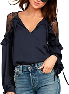 Womens Black Lace Top Tie V Neck Long Sleeve Shirt Ruffles Loose Elegant Blouse