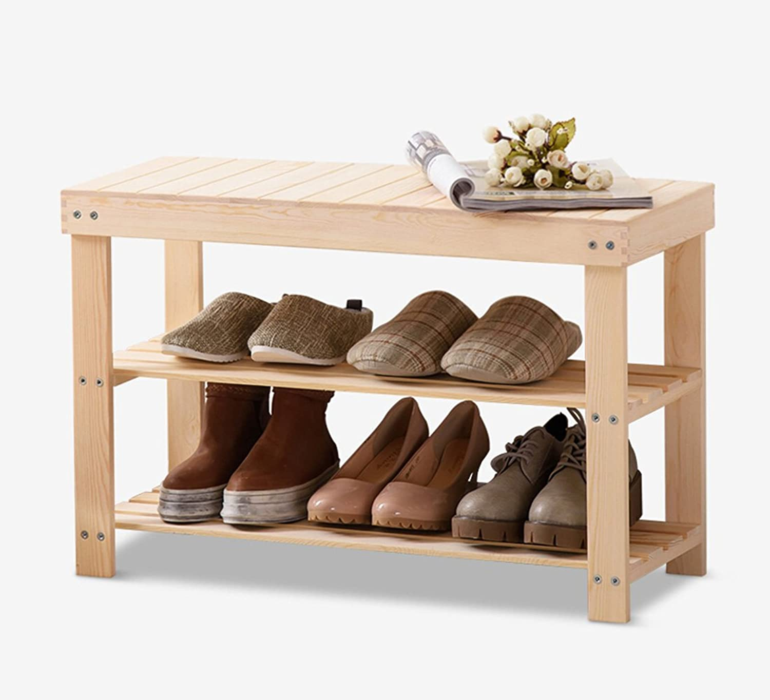 LIQICAI shoes Rack with Seat Natural Pine Wood Multifunction Assemble Easy, Multi-Size Optional (Size   Length70cm)