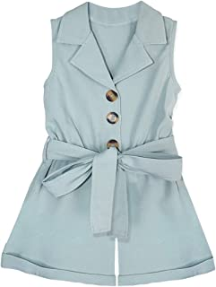 Toddler Baby Girl Clothes Sleeveless Bow-tie Waist Overall Romper Bodysuit Summer Short Jumpsuit