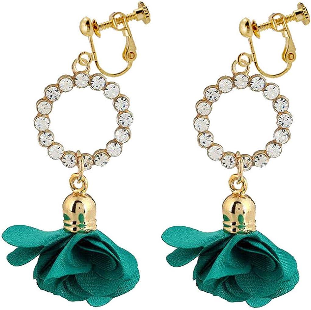 Fabric Petal Flower Drop Dangle Clip On Earrings Round Crystal Rhinestone Jewelry Non-Pierced