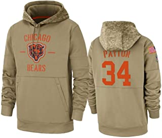 Dunbrooke Apparel Chicago Bears #34 Walter Payton Tan 2019 Salute to Service Sideline Therma Pullover Hoodie