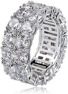 Anello di Moda a Doppia Fila ghiacciato con Gioielli Moca Anello in Oro 18 carati con Diamante simulato con Diamante CZ pe...