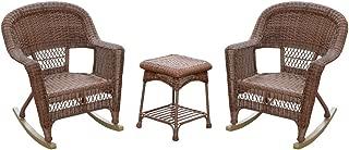 Jeco W00208_2-RCES011 3 Piece Santa Maria Rocker Wicker Chair Set with Blue Cushions, Espresso