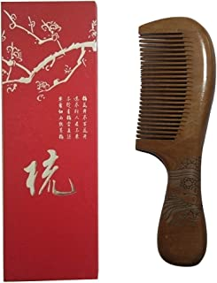RJSDYZDM Wooden comb, suitable for everyone, made of natural peach wood, feels comfortable and supple, with packaging is more suitable for gifts (A)
