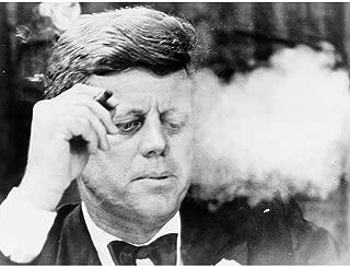 Wee Blue Coo Vintage B&W JFK Kennedy Portrait Smoking Cigar Unframed Wall Art Print Poster Home Decor Premium