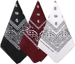 Bycc Bynn 3 Pack 100% Cotton Paisley Pattern Bandanas Face Mask Square Scarf Headwear