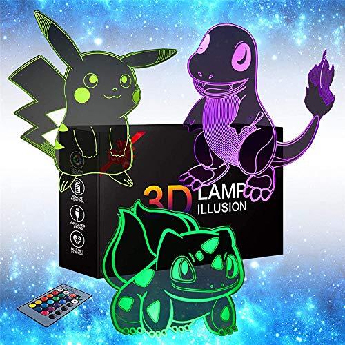 Pokemon Pikachu Charmander Bulbasaur Nachtlicht für Kinder 3D Geschenke, mit 16 Farbwechsel und Fernbedienung, Geschenke für Kinder ab 3 4 5 6+ Jahre