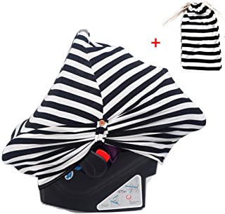 Multi Use Stretch Baby Car Seat Covers - Nursing Cover, Carseat Canopy, Protector Blanket for Baby Boys and Girls (Black Stripes)