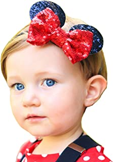 RQJ Baby Girl Headbands Elastic Headwrap Bowknot Mickey Ears Hairband With Sequin Bow Costume Accessory (Red)
