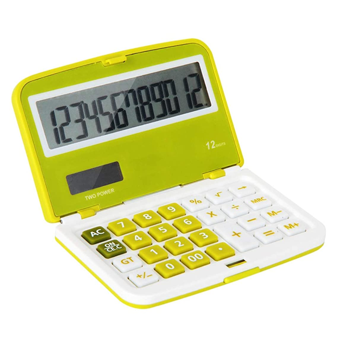 ロッジ革新クレアデスクトップ電卓 フリップセクション電卓かわいいミニポータブルオフィスソーラーキャンディーカラーソーラー電卓ブルー/グリーン/オレンジ 正確な計算 (Color : Green)