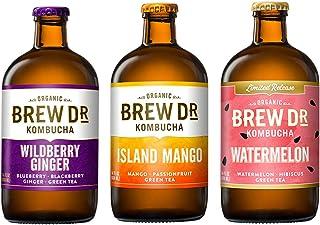 Brew Dr 3 Flavor Variety Pack, Wildberry Ginger, Watermelon, Island Mango, 14 Oz Bottles.