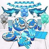 Shark Birthday Party Supplies for Boys set of 16 Inflatable Shark Party Decorations Shark Plates Cups Napkins Balloons Boy Birthday Decorations Shark Week Shark Décor