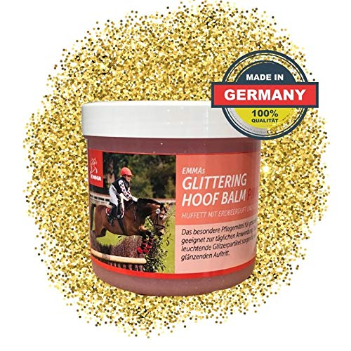 EMMA® Huffett Pferde I Glitzer Gel I Hufpflege I Hufbalsam mit Duft l für Hornwachstum I für gesunde Hufe I Hufsalbe trockene Hufe I Hufwachstum 500 ML