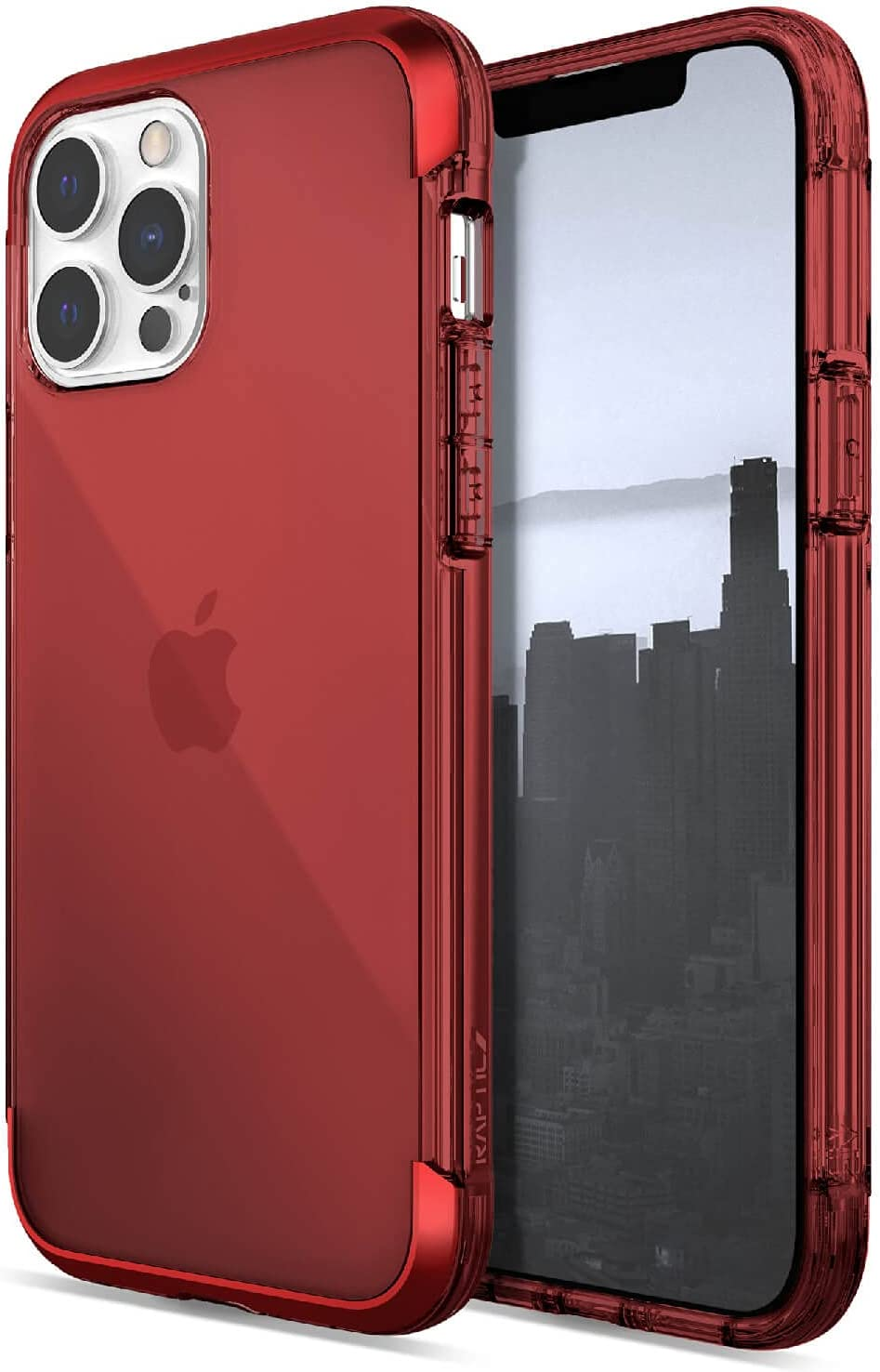 Raptic Air Case Compatible with iPhone 13 Pro Max Case, Scratch Resistant, Aluminum Metal Bumper, Wireless Charging, 13ft Drop Protection, Fits iPhone 13 Pro Max, Red