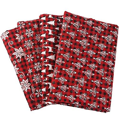 4 stücke Weihnachtsbaumwollgewebe Baumwolle Leinen Schneeflocke Hirsch CH Gewebe Materialien zum Nähen Quilten Patchworks Handwerk 25cm / 50 cm Peng (Color : A)
