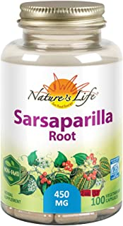 Nature's Life Sarsaparilla Root 450 | Energy and Mood Support | Joint and Skin Health Formula, Non-GMO, 100ct, 100 Serv.