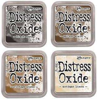"Tim Holtz Ranger Distress Oxide Ink Bundle - Four 3"" x 3"" Pads (E : Black Soot, Walnut Stain, Vintage Photo, and Antique L..."