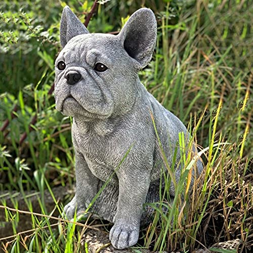 HOOCK Dachshund Statue Garden Decor French Bulldog Statue Resin Crafts Dog Sculpture Patio Lawn Courtyard Home Decoration (A)