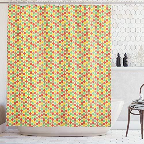 ABAKUHAUS Honingraat Douchegordijn, De Bijenkorf van de Ontwerp van het Thema, stoffen badkamerdecoratieset met haakjes, 175 x 200 cm, Veelkleurig