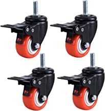 1.5 Inch Zwenkwielen PU 360 Graden Stem Zwenkwiel Oranje met Rem, M8 x 25mm, 200kg Totaal laadvermogen, 4 stuks