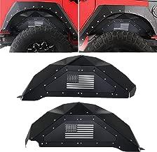 Bentolin Fit Jeep Wrangler Rear Inner Fender Liners for 2007-2018 Jeep Wrangler JK 4WD US Flag Logo Aluminum Lightweight Design Black (Rear Fender Liner)
