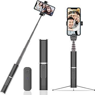 自撮り棒 Bluetooth リモコン付き 超小型 軽量 ミニ三脚 スマホ三脚 三脚/一脚兼用 アルミ合金 セルカ棒 無線 360度回転 Bluetoothリモコン iPhone/Android スマホ等対応 (ブラック)