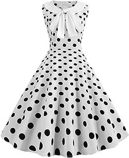 LQQSTORE Kleider Damen Kleid Frauen Casual 1950er Vintage Retro Sleeveless V-Ausschnitt Dot Printing Party Prom Swing Dress Kleider Cocktailkleid Kurzarm Partykleid Rockabilly Kleid