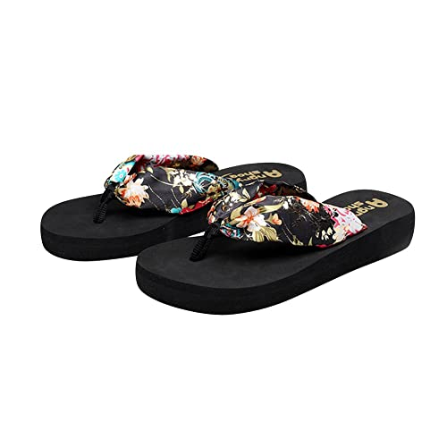 184ae21ebedcaf Desen Women s Floral Summer Satin Wedge Flip Flops Runs Small