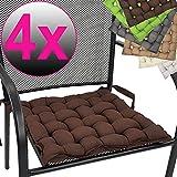 PROHEIM 4er Set Stuhlkissen Provence 40 x 40 cm Premium Flechtkissen mit Halterungs-Bändern modernes Sitzkissen Stuhlauflage Sparset, Farbe:Braun