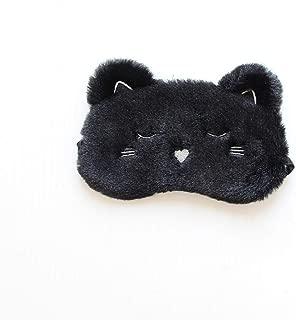 Monai Cute 3D Sleep Mask Plush Animal Sleeping Home Eye Cover for Women Girls Kids (BLACKCAT)