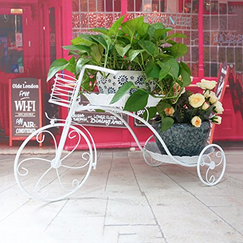 Fleur Racks Fer Métal Permanent Fleur Étagère Bicyclette Pastorale pour Plante Fleur Pots Titulaire Étagères Stand Rack Jardin Étagère de Stockage pour Salon Intérieur Balcon Décoration 77x31x45 cm (2