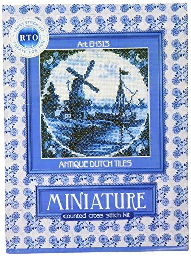 RTO Kreuzstich-Set, Motiv: Windmühle II (Antike niederländische Fliesen, 10,2 x 10,2 cm)