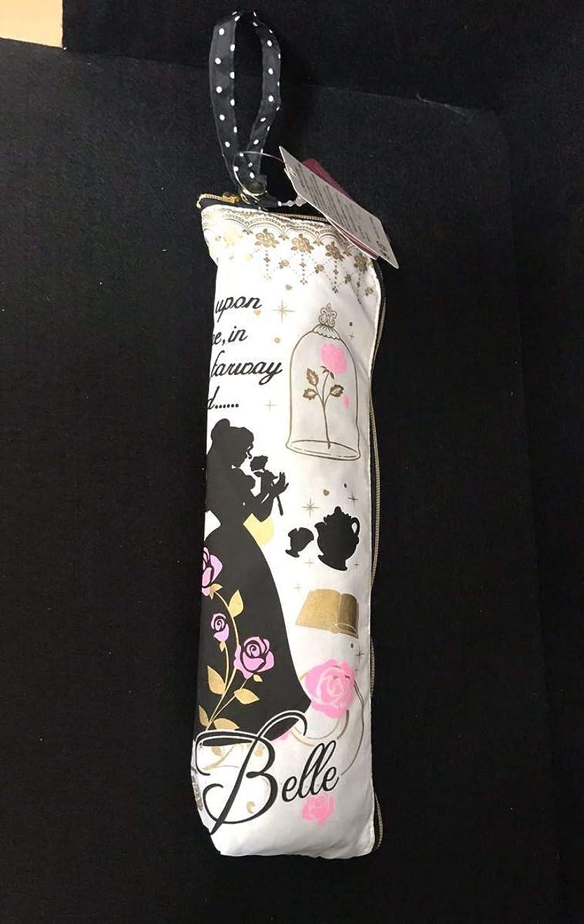 地理長いですクレーターアミューズメント景品 ディズニープリンセス 美女と野獣 ベル シルエットデザイン 折りたたみ傘 イエロー ホワイト 55cm
