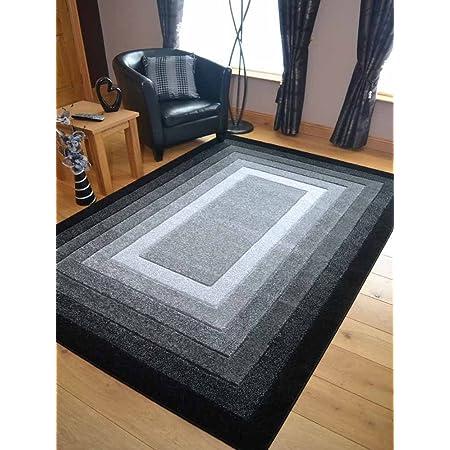 Modern Small Extra Large Sahara Black Grey Border Carved Quality Thick Floor Long Carpet Runner Rugs Mat Rugs Supermarket 120cm x 170cm