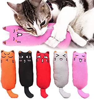 5Pcs Catnip Toy, Cat Chew Toy Bite Resistant Catnip Toys for Cats,Catnip Filled Cartoon Mice Cat Teething Chew Toy