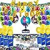 バースデーパーティー用品 ゲームファン用 162ピース ビデオゲームパーティー用品 テーブルカバー ドロップバッグ 招待状 ゲームパーティーデコレーション用