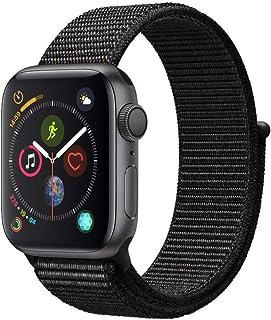 Apple Watch Series 4 (sólo GPS) carcasa de aluminio compatible con iPhone 5s y superior (carcasa de aluminio gris espacial con bucle deportivo negro, 1.575in)