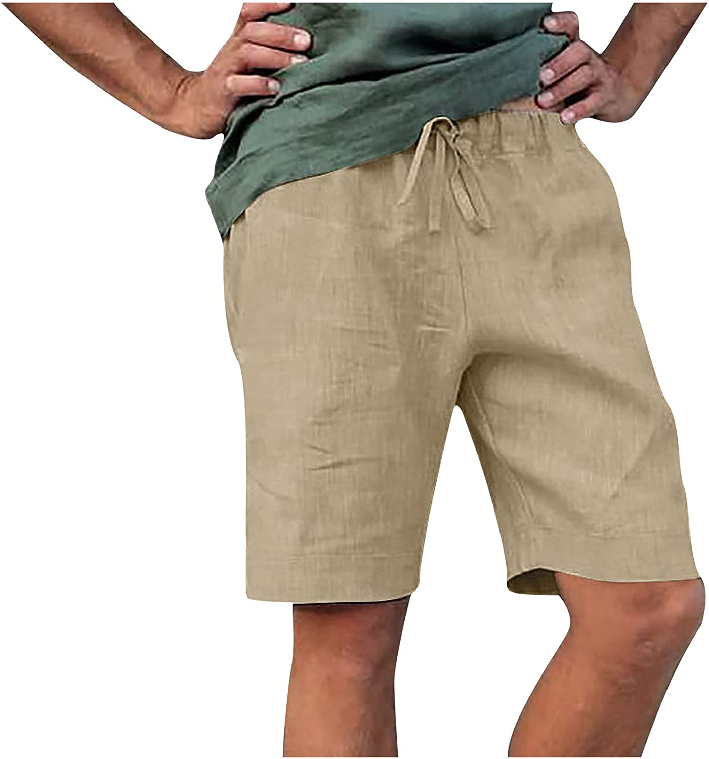 Raeneomay Men's Shorts Casual Relaxed Fit with Pockets Drawstring Lightweight Summer Beach Athletic Shorts